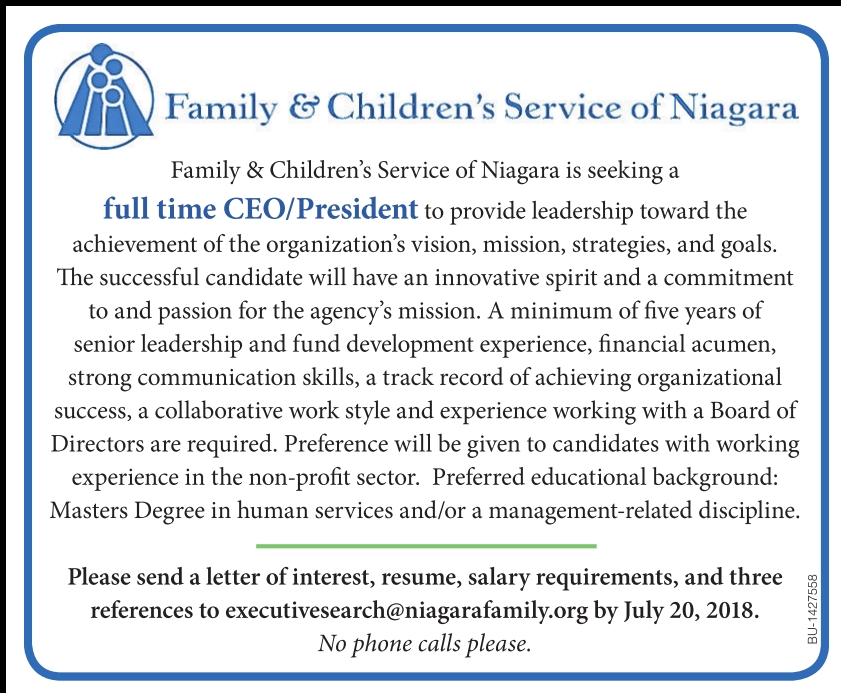 CEO job at Family & Childrens Service of Niagara | Monster.com