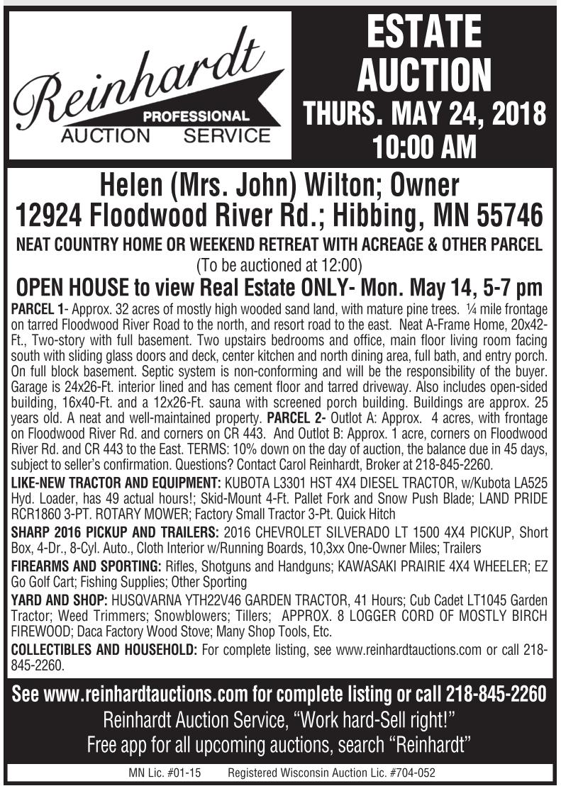 Estate Auction, Reinhardt Professional Auction Service, Palisade, MN