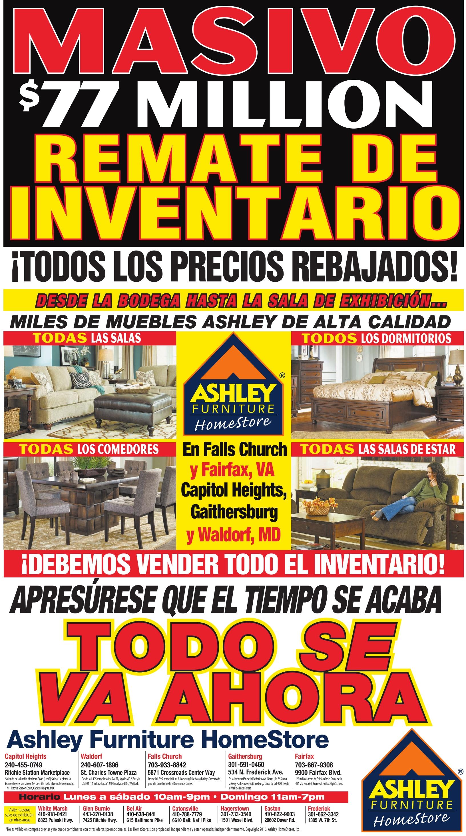 Masivo $77 Million REMATE DE INVENTARIO, Ashley Furniture HomeStore